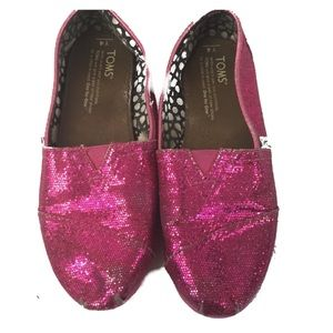 TOMS Pink Sparkle Glitter Classic Girls Size 4